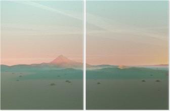 Diptych Geometrisk fjelllandskap med Gradient Sky