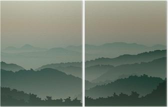 Diptych Grønne fjell i tåke