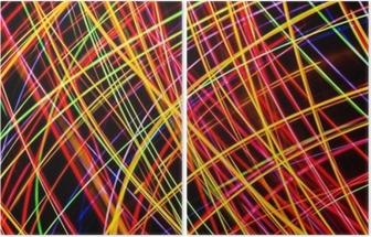 Diptych Moderne kunst. Lang eksponering neonlys tekstur.
