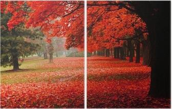 Diptych Červený na podzim v parku