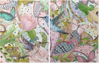 Diptych Módní bezešvé textury s etnickými květinovými ornamenty a kolibříky. akvarel malování