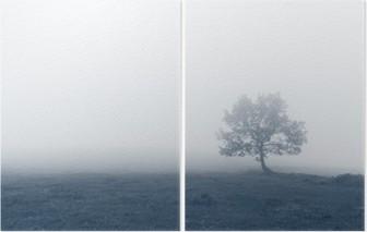 Diptych Osamělý strom s mlhou