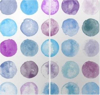 Diptych Soubor tvarů akvarelu. akvarely blobs. sada barevných akvarel ručně malované kruh izolovaných na bílém. ilustrace pro umělecký design. okrouhlé skvrny, kousky fialové, modré barvy