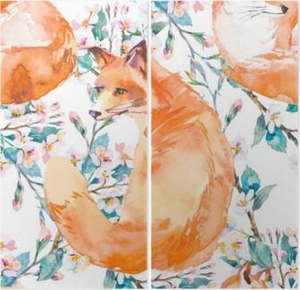 Diptych Volně žijících živočichů vzor. Fox a kvetoucí větve. ,