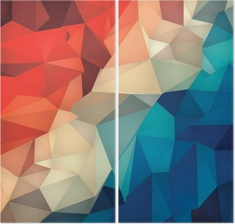 Diptyk Abstrakt geometrisk låg poly bakgrund