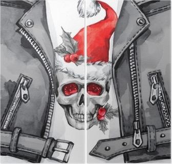 9f5242259839 Canvastavla Akvarell illustration. handmålade läderjacka med skalle i santa  hatt. rock stil tjej. jul, nyårssymbol. • Pixers® - Vi lever för förändring