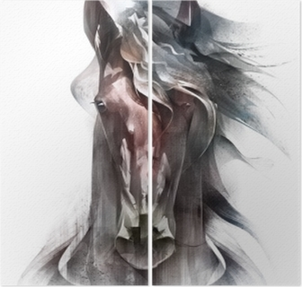 Målat färgat hästporträtt isolerat framför