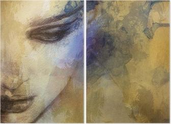 Diptyk Vacker kvinna inför. akvarell illustration