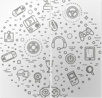 Diptyk Videospel ikoner, enkel och tunn linje design