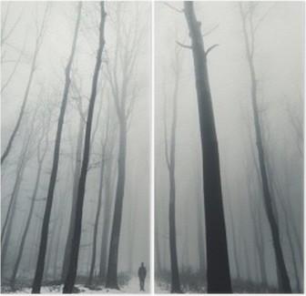Mand i skov med høje træer om vinteren Diptykon