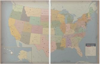 Meget Detaljeret Kort Over Usa Highway Og Befolkning Kort Plakat