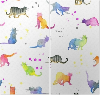 Problemfri mønster med søde katte Diptykon