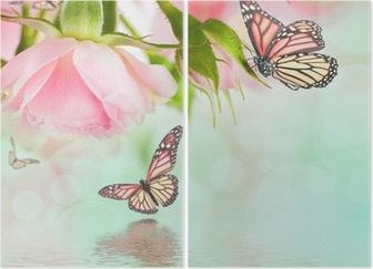 Diptyque Belles roses et papillon, fleur, fond floral