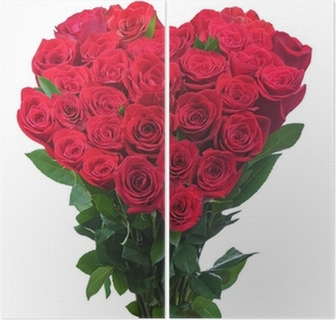 Bouquet From Red Roses In Shape Of Heart Isolated On White Backg
