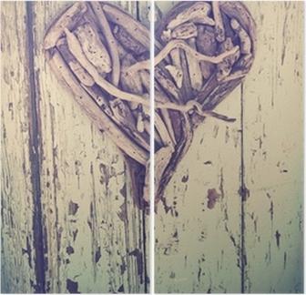 Papier Peint Coeur bois flotté sur le millésime mur • Pixers® - Nous ...