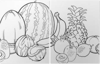 Coloriage Fruits Tropicaux.Papier Peint Fruits Tropicaux Illustrations Pour Le Livre De