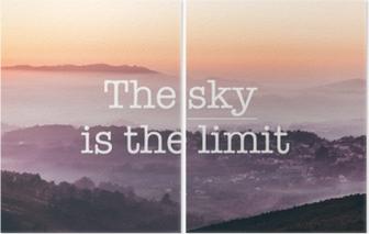 Diptyque Le ciel est la limite, fond de montagnes brumeuses