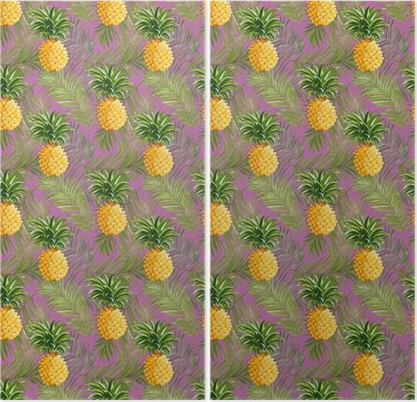 Diptyque Tropical feuilles de palmier et Ananas Contexte -