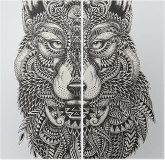 Dittico Altamente dettagliata illustrazione astratta lupo