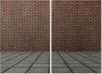 Quadro su tela frontale 3d rendering di muro di mattoni con