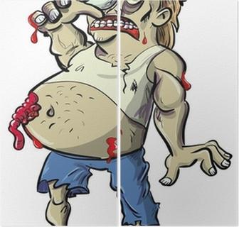 Poster red collo zombie cartone animato con grande pancia u2022 pixers