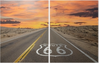 Dittico Route 66 marciapiede segno Alba Deserto del Mojave