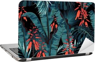 Dizüstü Bilgisayar Çıkartması Seamless pattern floral watercolor style design: Etli çiçek turuncu çiçekler ve palmiye ve muz yaprakları ile etli. Modern aydınlık yaz baskı tasarımı. siyah arkaplan baskı.