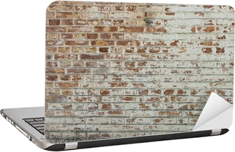Dizüstü Bilgisayar Çıkartması Soyulması sıva ile eski vintage kirli tuğla duvarın arka plan