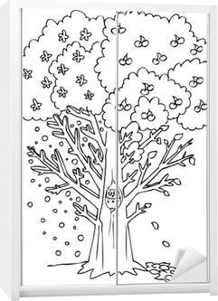Boyama Dört Mevsim Ağaç Poster Pixers Haydi Dünyanızı Değiştirelim