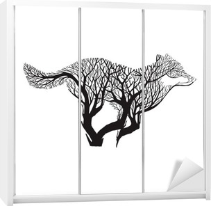 Dolap Çıkartması Kurt çalıştırmak siluet çift pozlama harman ağaç çizim dövme vektör