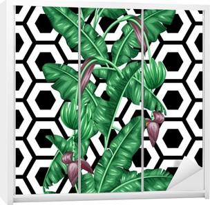 Dolap Çıkartması Muz yaprakları ile sorunsuz desen. tropik bitki örtüsü, çiçek ve meyve dekoratif görüntü. Arkaplan maske kırpma olmadan. zemin için kullanımı kolay, tekstil, ambalaj kağıdı