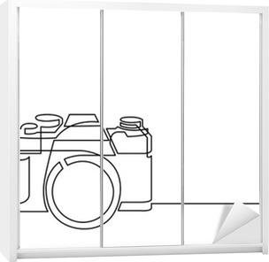 Dolap Çıkartması Retro fotoğraf makinesinin sürekli hat çizimi