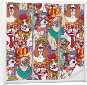 Dolap Çıkartması Sevimli köpek moda hipster seamless modeli.