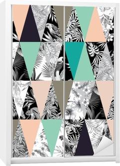 Dolap Çıkartması Tropikal patchwork seamless background