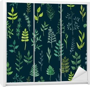 Dolap Çıkartması Vektör yeşil suluboya çiçek seamless pattern.