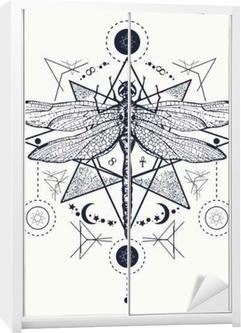 Yusufçuk Dövme Elle çizilmiş Mistik Semboller Ve Böcekler Duvar