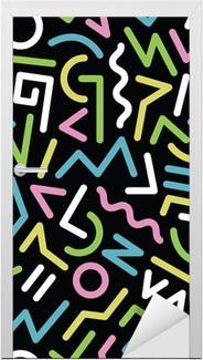 80s pattern Door Sticker