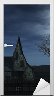 A spooky witch house and a witch flying towards the full moon. Door Sticker