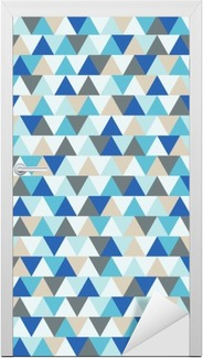 Abstract triangle vector background, blue and grey geometric winter holiday pattern Door Sticker