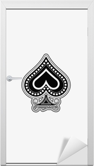 Ace of spade playing card Door Sticker