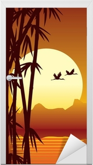 bamboo and sunset Door Sticker