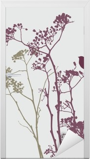 bird on meadow flowers Door Sticker