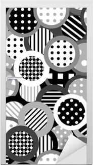 Black and white background with circles Door Sticker