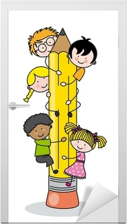 children climbing up a pencil Door Sticker