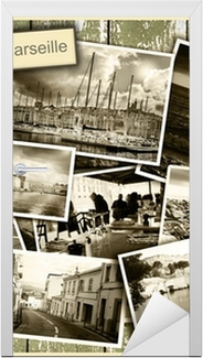 collage views of Marseille, black and white photos on a wooden b Door Sticker