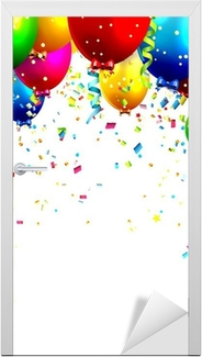 Colorful birthday balloons and confetti - vector background Door Sticker