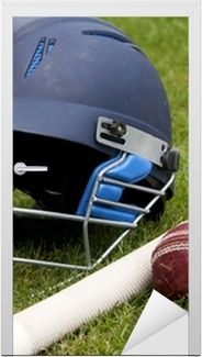 Cricket ball, bat and helmet on green grass of cricket pitch Door Sticker
