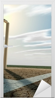 Cricket Pitch And Wickets Perspective Door Sticker