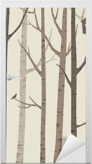 decorative silhouettes of trees with a bird and birdhouse Door Sticker