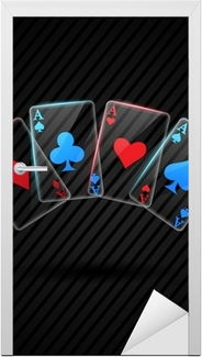 four Glass poker aces playing cards illustration transparent Door Sticker